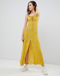 Brave Soul Poppy Maxi Dress with Tie Detail - Yellow