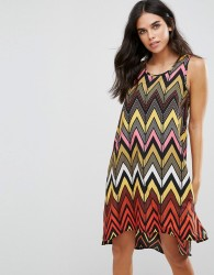 Brave Soul Seville Dip Hem Swing Dress in Chevron - Multi