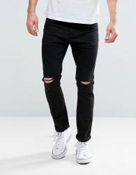 Brave Soul Skinny Black Jeans with Knee Rips - Black