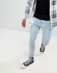 Brave Soul Skinny Fit Distressed Jeans - Blue