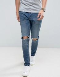 Brave Soul Skinny Fit Raw Hem Distressed Jeans - Blue