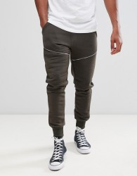 Brave Soul Skinny Fit Ribbed Zip Joggers - Green