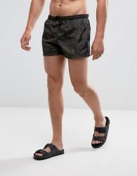 Brave Soul Swim Shorts in Camo Print - Green