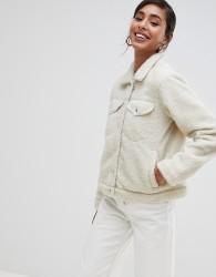 Brave Soul tedd trucker borg fleece jacket - Cream