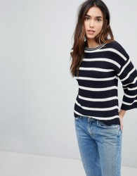 Brave Soul Treen Stripe Jumper With Wide Sleeves - Navy