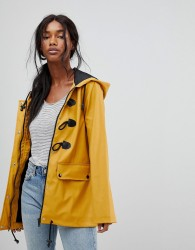 Brave Soul Trucker Rubberised rAINCoat With Duffle Fastenings - Yellow