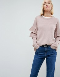 Brave Soul Tulip Jumper With Double Frill Sleeve - Pink