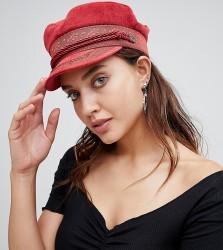 Brixton Baker Boy Embroidered Hat in Red - Orange