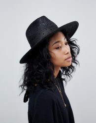 Brixton Macy Fedora in Black with Beaded Detail - Black