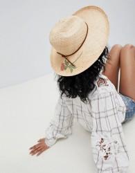 Brixton Straw Fedora Hat With Printed Rose - Beige