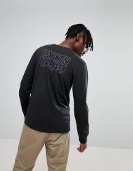Brixton Vitus Long Sleeve T-Shirt With Back Print - Black