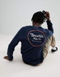 Brixton Wheeler Sweathshirt With Back Print In Navy - Navy