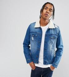 Brooklyn Supply Co Distressed Mid Wash Borg Denim Jacket - Blue