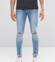 Brooklyn Supply Co Light Washed Denim Dyker Jeans With Knee Slit In Super Skinny Fit - Blue