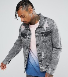 Brooklyn Supply Co Ripped Denim Jacket Acid Wash - Blue