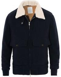 Brunello Cucinelli Cashmere Blend Shearling Collar Jacket Navy men M