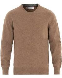 Brunello Cucinelli Cashmere Contrast Crew Neck Sweater Brown men 50