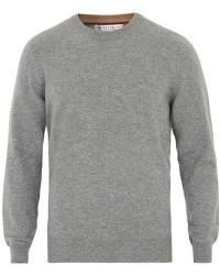 Brunello Cucinelli Cashmere Contrast Crew Neck Sweater Grey men 46