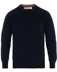 Brunello Cucinelli Cashmere Contrast Crew Neck Sweater Navy men 50