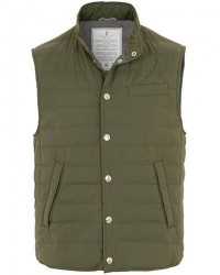 Brunello Cucinelli Shell Quilted Down Gilet Olive Green men XXL