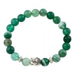 Buddha armbånd - Lykkearmbånd - Grøn Agat