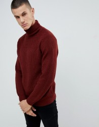 Burton Menswear jumper with roll neck in rust - Red