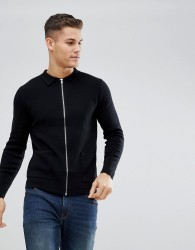 Burton Menswear Knitted Shirt Jacket In Black - Black