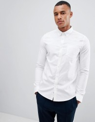 Burton Menswear Long Sleeve Oxford Shirt In White - White