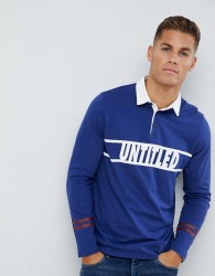 Burton Menswear long sleeve rugby shirt in blue - Blue