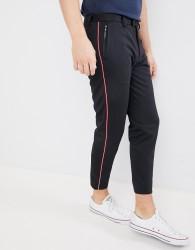 Burton Menswear Side Stripe Trousers In Black - Black
