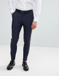 Burton Menswear Skinny Fit Suit Trousers in Navy Check - Navy