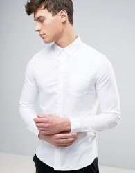 Burton Menswear Skinny Oxford Shirt with Stretch - White
