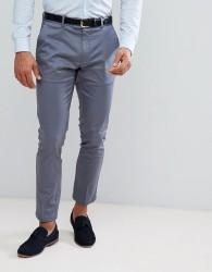 Burton Menswear Skinny Smart Trouser With Belt In Blue Sateen - Blue