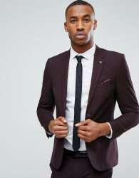 Burton Menswear Skinny Suit Jacket in Dark Burgundy - Brown