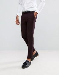 Burton Menswear Skinny Suit Trousers in Dark Burgundy - Brown