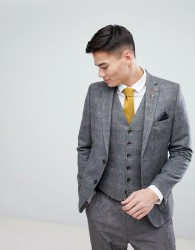 Burton Menswear Slim Blazer In Check - Grey