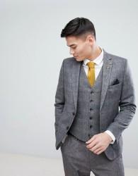 Burton Menswear Slim Blazer In Check - Grey