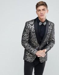 Burton Menswear Slim Fit Blazer In Black And Gold Floral Print - Gold