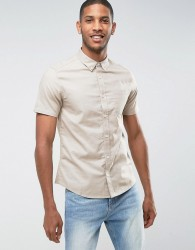 Burton Menswear Slim Oxford Shirt - Stone