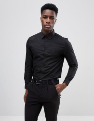 Burton Menswear Slim Shirt In Dobby - Black