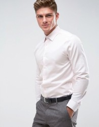 Burton Menswear Slim Shirt In Texture - Pink