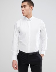 Burton Menswear Slim Shirt With Pin Collar In White - White