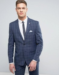 Burton Menswear Slim Suit Jacket in Check - Blue