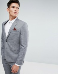 Burton Menswear Slim Suit Jacket in Grey Check - Grey