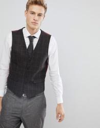 Burton Menswear Slim Waistcoat In Brown Check - Brown