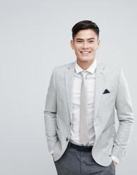 Burton Menswear Slim Wool Mix Blazer - Grey