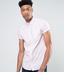 Burton Menswear TALL Short Sleeve Oxford Shirt in Pink - Pink