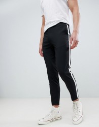 Burton Menswear Tapered Smart Trousers With Side Stripe In Black - Black