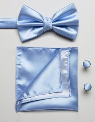 Burton Menswear tie and pocket square set in blue - Blue