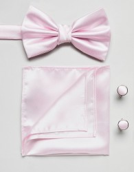 Burton Menswear tie and pocket square set in pink - Pink